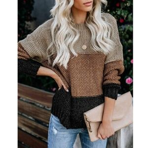 ARIA Striped Chunky Knit Sweater